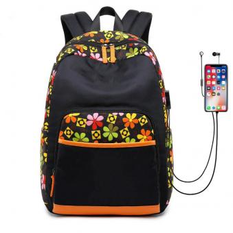 Large Capacity Fashion Backpack Water Resistant Girl Leisure Bag USB Charge Port Girl Daily Travel Backpack Bag - ORSTAR